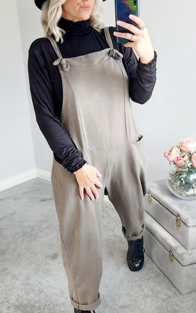 Slouch Oversized Cotton Dungarees In Taupe by FOXY FROX