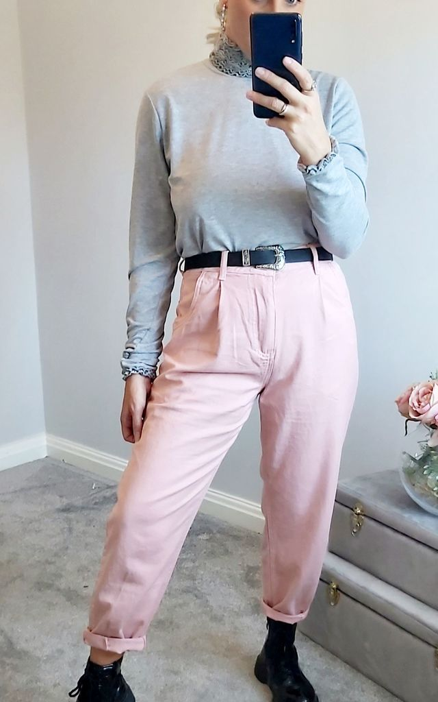 Pink Slouch Fitting Mom Jeans by FOXY FROX