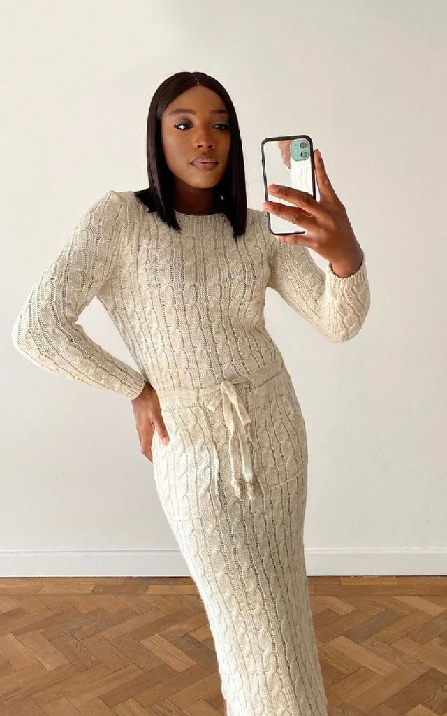 Naya Knitted Midi Dress in Stone by IKRUSH