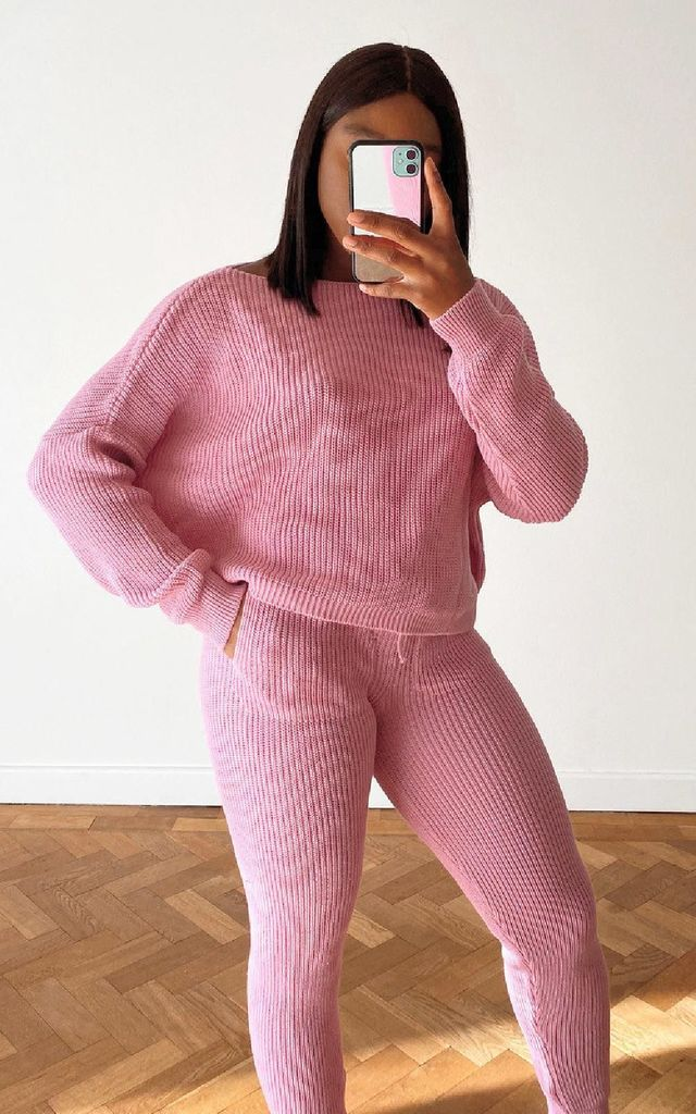 Laura Knitted Ribbed Co-ord in Lilac by IKRUSH