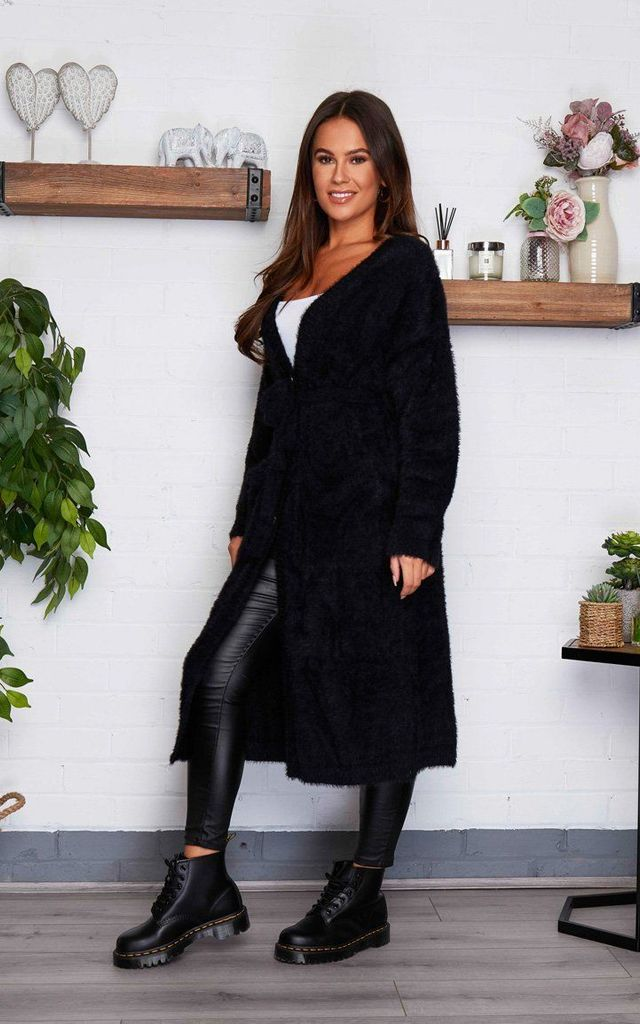 Kylie Fluffy Long Cardigan Black by Girl In Mind