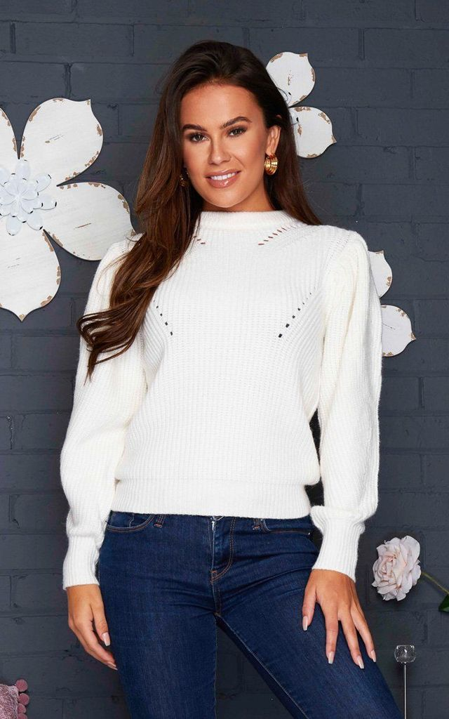 Aaliyah Puff Sleeve Jumper Cream by Girl In Mind