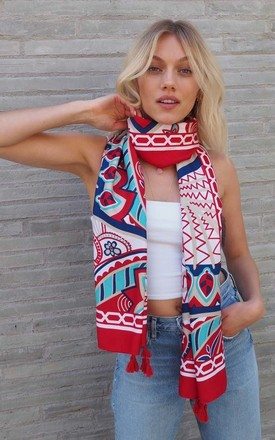 Beautiful Polyester Fabric Scarf in Red Mixed Print by Trillion London