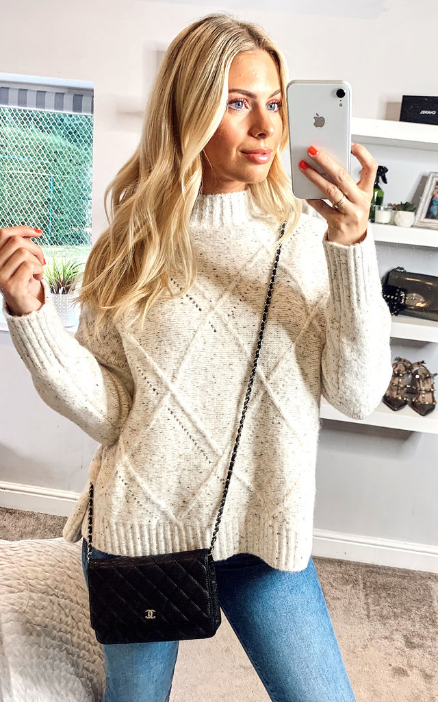 Oatmeal Brushed oversized high neck sweater by ANGELEYE