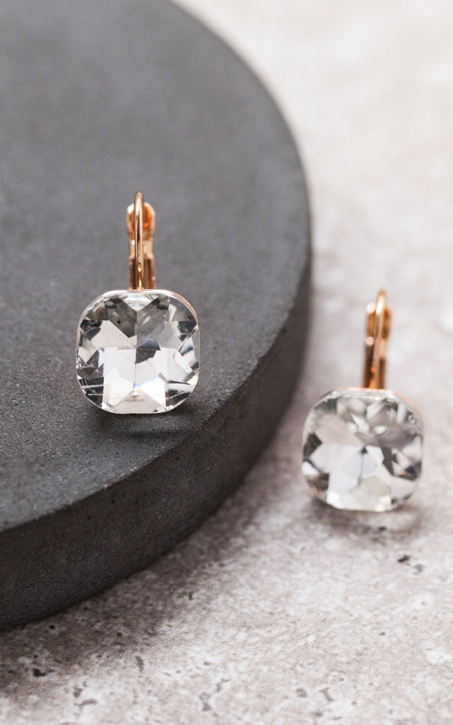 Square Gold Diamond Cut Crystal Drop Earrings by Always Chic