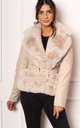 Fur Trimmed Fitted Faux Leather Biker Jacket in Soft Beige by One Nation Clothing