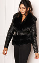 Fur Trimmed Fitted Faux Leather Biker Jacket in Black by One Nation Clothing