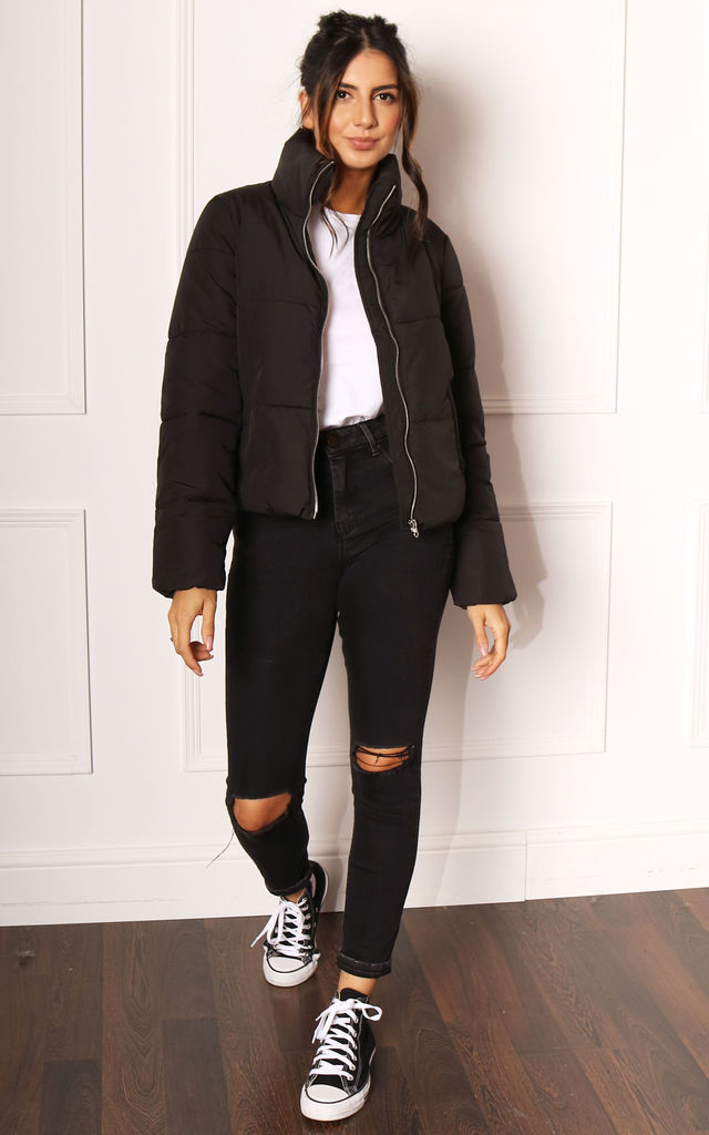 Erica Boxy Short Padded Puffer Funnel Neck Jacket in Black by One Nation Clothing