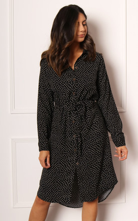 Sprinkle Spot Long Sleeve Midi Shirt Dress with Curve Hem in Black by One Nation Clothing