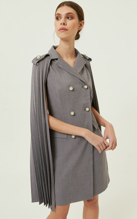 Leyster Jacket Cape Fitted Grey by Jovonna London
