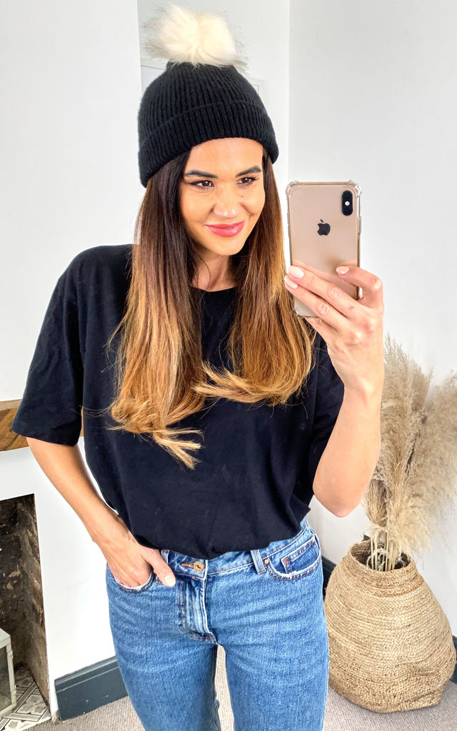 Knitted Beanie Hat With Faux Fur Pom Pom in Black by Pieces