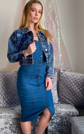 Button Through Slit Front Overall Denim Dress in Mid Blue by J-Mojo Denim