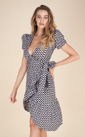 Tabitha Midi Wrap Dress in Black/White Geometric by Milushka