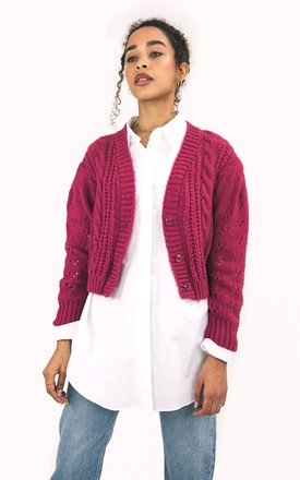 Rocky Pink Cropped Cable Knitted Cardigan by Cara & The Sky