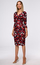 Wrap Midi Dress Tied at Waist in Red Floral Print by MOE