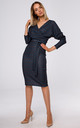 Wrap Midi Dress Tied at Waist in Navy Blue Print by MOE