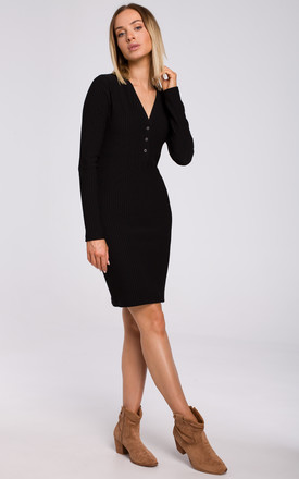 Black Mini Dress with Fastened V-Neckline by MOE
