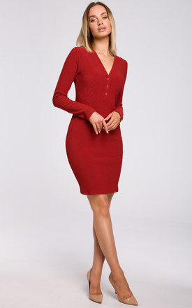 Red Mini Dress with Fastened V-Neckline by MOE