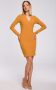 Dark Yellow Mini Dress with Fastened V-Neckline by MOE