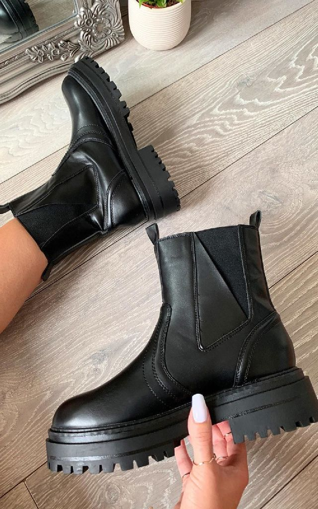Emma Chunky Ankle Boots in Black by IKRUSH