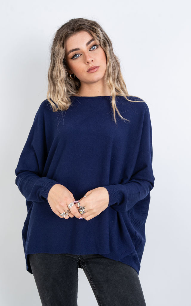 Plain Crew Neck Jumper (NAVY) by Lucy Sparks