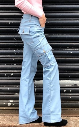 Pale Blue Wide Leg Cargo Jeans by Glamour Outfitters