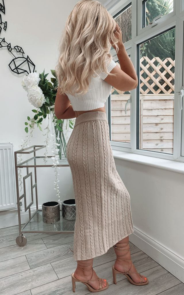 Nelly Nude High Waist Cable Knit Maxi Skirt With Split by Fifi & Bel