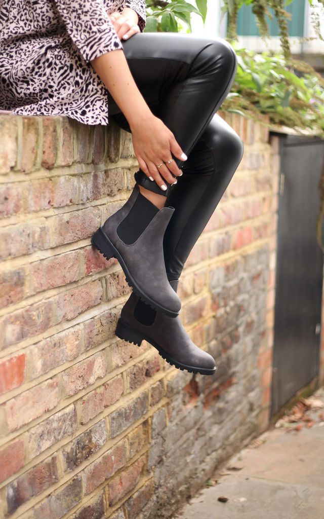 Ace Grey Matte Nappa Classic Chelsea Boot With Elasticated Gusset by Linzi