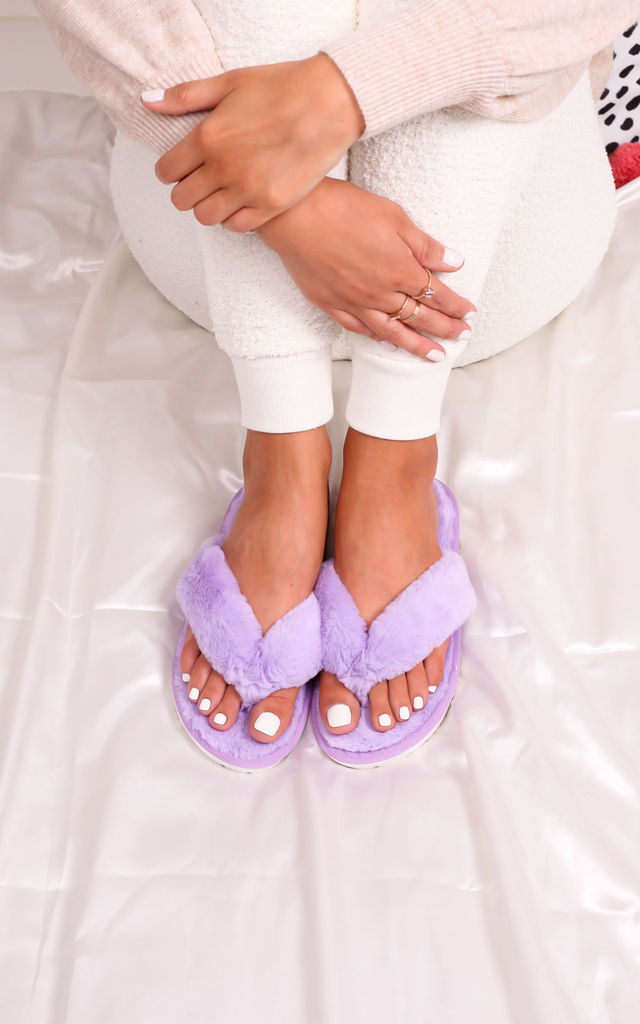 Dream Lilac Fluffy Toe Post Slippers by Linzi