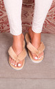 Dream Mocha Fluffy Toe Post Slippers by Linzi