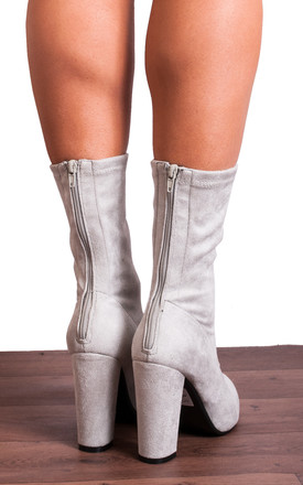 Grey Stretch Sock Pull On Zip Ankle High Heels Boots by Shoe Closet