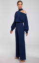 Navy Blue Jumpsuit with Cut on Shoulder by MOE