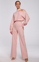 Powder Pink Jumpsuit with Cut on Shoulder by MOE