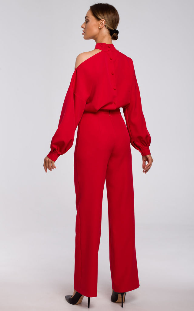 Red Jumpsuit with Cut on Shoulder by MOE