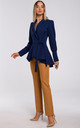 Blazer Tied at Waist in Navy Blue by MOE
