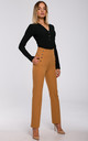 Dark Yellow High Waist Trousers with Decorative Buttons by MOE
