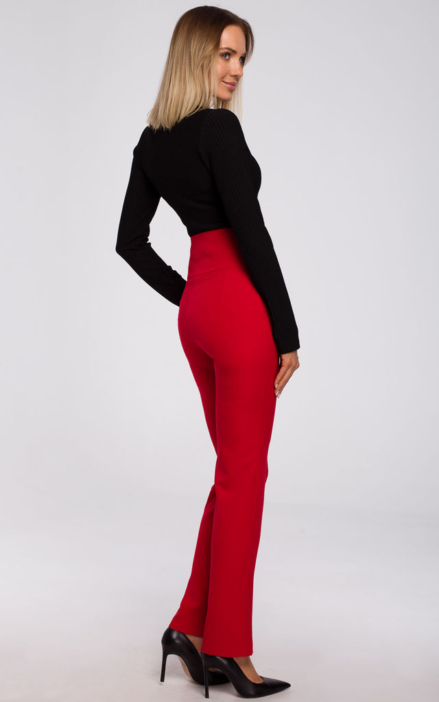 Red High Waist Trousers with Decorative Buttons by MOE