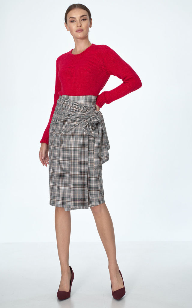 Pencil Midi Skirt Tied at Waist in Grey Grid by so.Nife