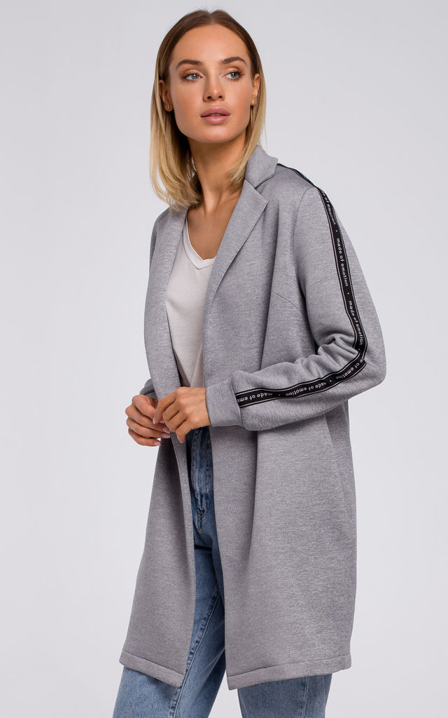 Grey Long Cotton Blazer with Logo Strap by MOE