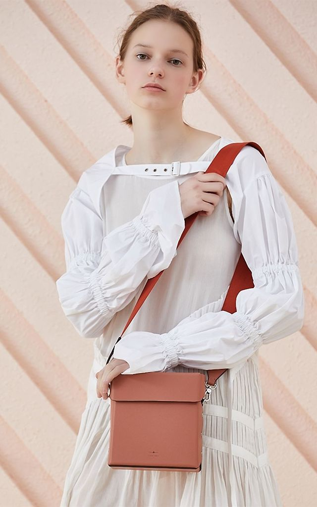 Leather Flap Box Bag with Side Rivet Details by MOOD BAG