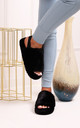 Comfy Black Fluffy Slingback Slippers With Platform Sole by Linzi