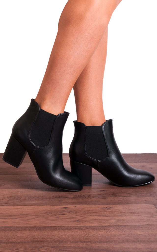 Black Chelsea Faux Leather Ankle Boots by Shoe Closet