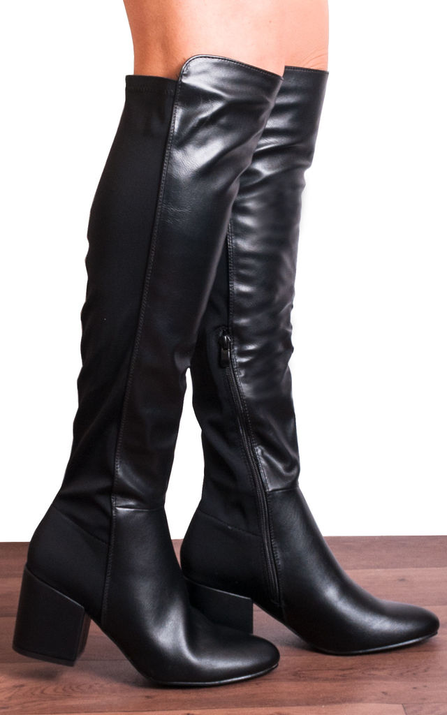 Black Knee High Faux Leather Elasticated Boots by Shoe Closet