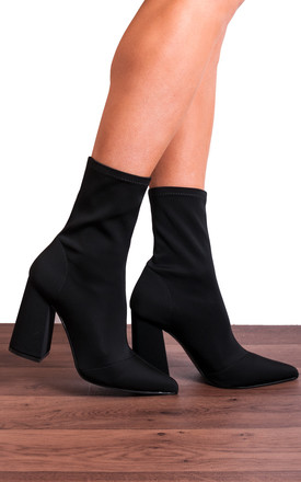 Black Lycra Sock Stretch Ankle Boots by Shoe Closet