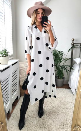 Oversized Polka Dot V neck midi dress in black and white. by D.Anna