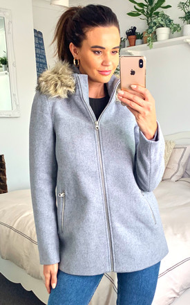 Wool Blend Coat With Faux Fur Hood In Light Grey by VM Product photo