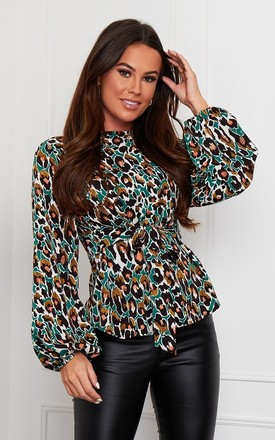 Kristen Tie Waist Top Green Mix Leopard by Girl In Mind Product photo