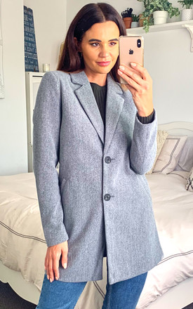 Tailored Blazer Style Coat In Grey by VM Product photo