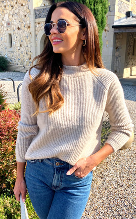 Ribbed Jumper With High Neck In Cream by ONLY Product photo