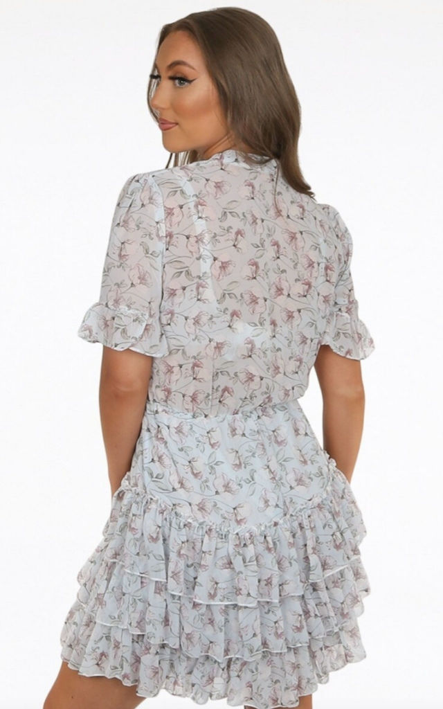 Floral Short Sleeve Frill Tiered Dress Blue by Honey Mabel Boutique